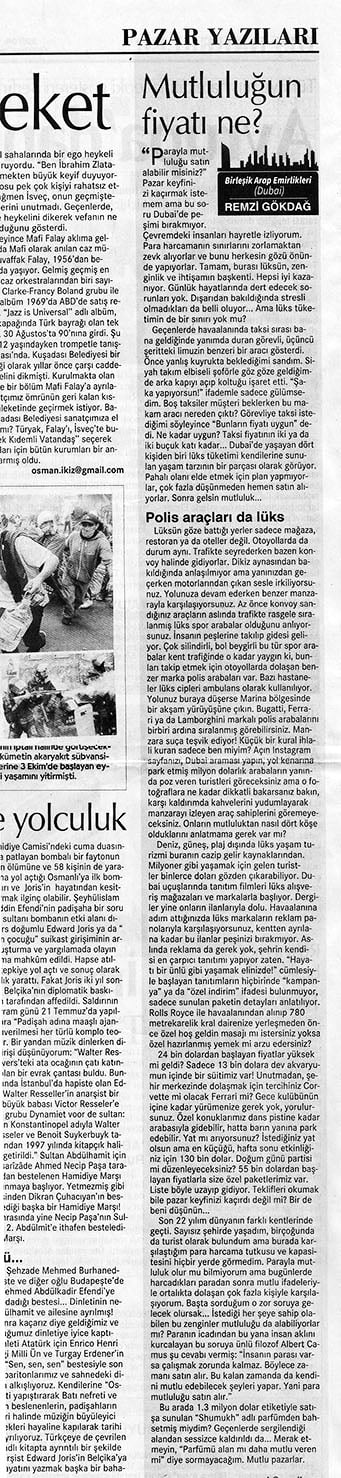 Remzi Gökdağ 13 Ekim 2019 Cumhuriyet Gazetesi